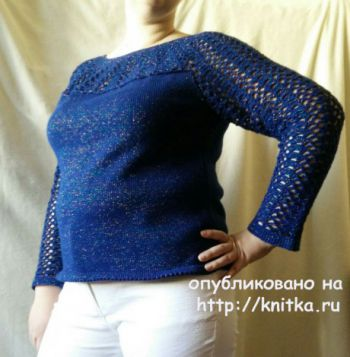 Джемпер женский с ажурной кокеткой и рукавами