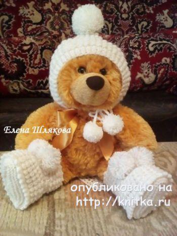 Шапочка – колпачок спицами для малыша. Работа Елены Шляковой. Вязание спицами.