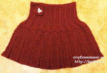 Как связать теплую юбку для девочки спицами