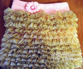 Вяжем юбку для девочки спицами из ленточной пряжи