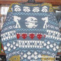 Мужской свитер с жаккардовым рисунком. Работа Елены