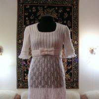 Платье – ампир спицами из мохера. Работа Людмилы Петровой
