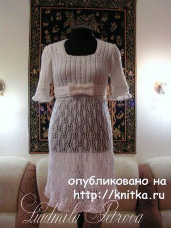 Платье – ампир спицами из мохера. Работа Людмилы Петровой. Вязание спицами.