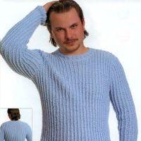Мужской свитер голубого цвета