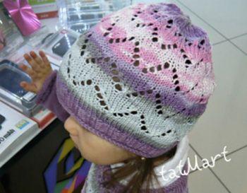 Ажурная шапочка для девочки спицами. Вязание спицами.