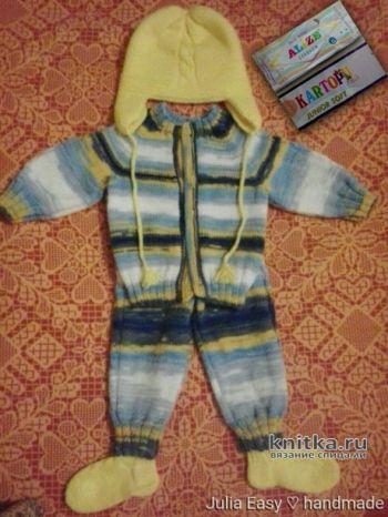 Вязаный спицами костюм SEKERIM для малыша: кофточка, штанишки, шапочка, носочки. Вязание спицами.