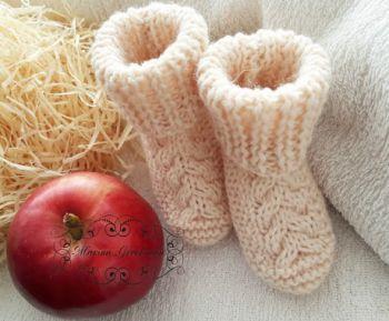 Носки - пинетки спицами для новорожденных