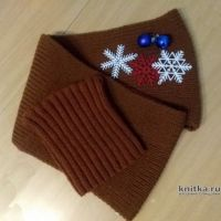 Комплект Шоколад: шапка и шарф спицами. Работа Валерии