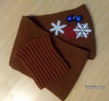 Комплект Шоколад: шапка резинкой и шарф спицами