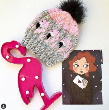 Жаккардовый узор Фламинго для шапочек, варежек и свитеров. Вязание спицами.