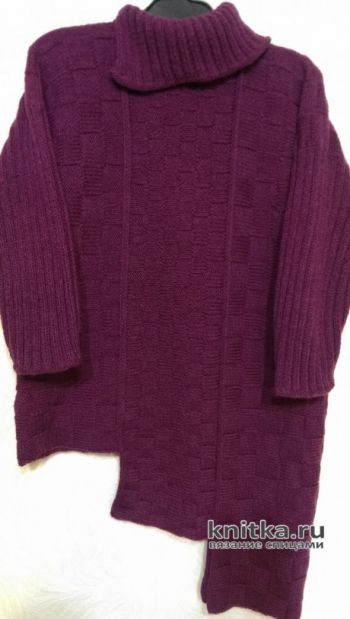 Модный женский свитер с шахматным узором. Работа Эвелины Никандровой. Вязание спицами.