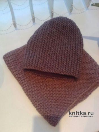 Комплект шапка и снуд спицами. Работы Екатерины. Вязание спицами.