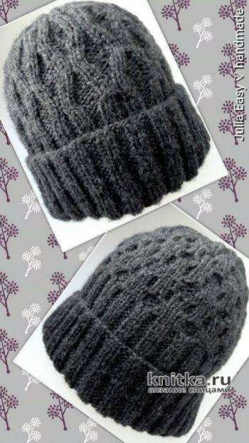 Двухсторонняя мужская шапка спицами. Работа Julia Easy. Вязание спицами.