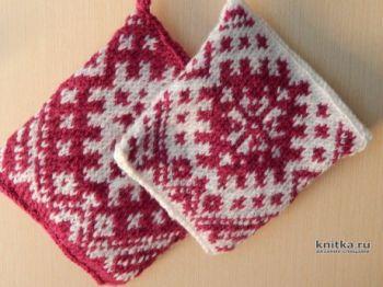Прихватки спицами, вязание для дома