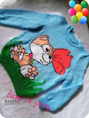 Детский свитер спицами. Работа Ольги