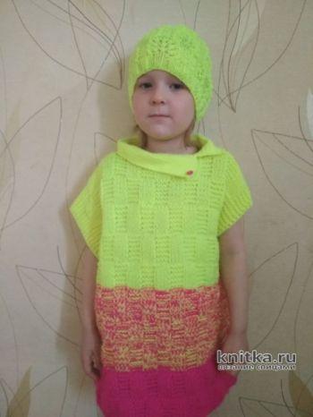 Вязаный жилет и шапочка для девочки. Работы Александры Миличенко
