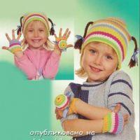Полосатый комплект для девочки, связанный спицами