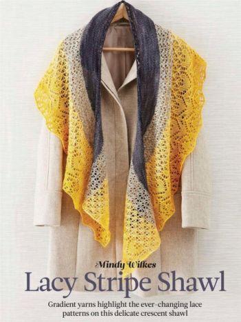 Вязанная спицами шаль Lacy stripe by Mindy Wilkes