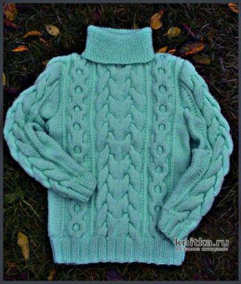 Вязаный детский свитер. Работа Любови
