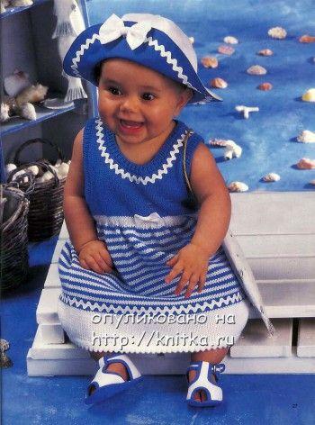 Платье для малышки. Вязание спицами.