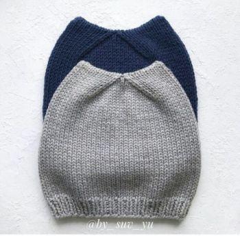 Кото-шапка спицами для девочки, описание и схема вязания