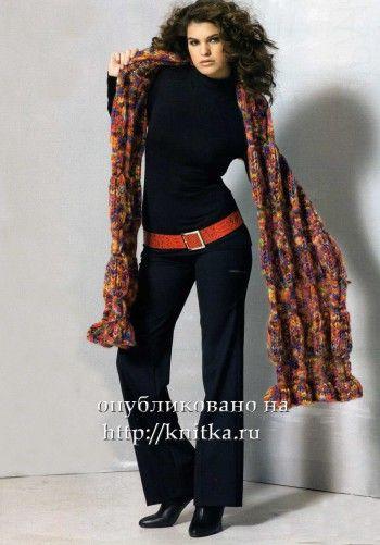 Эффектный шарф, связанный спицами. Вязание спицами.