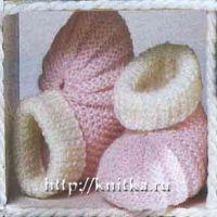 Вязание для малышей: розовые пинетки