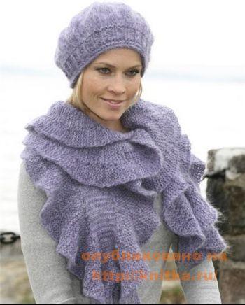 Скандинавский шарф спицами. Вязание спицами.