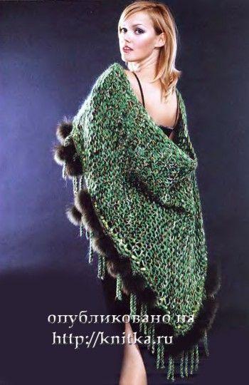 Теплая шаль, связанная спицами. Вязание спицами.
