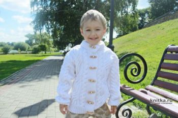 Жакет с косами для мальчика 6 лет