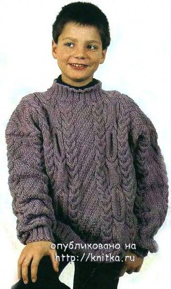 Пуловер с рельефным узором. Вязание спицами.