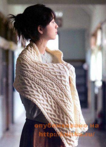 Шарф с аранами из японского журнала. Вязание спицами.