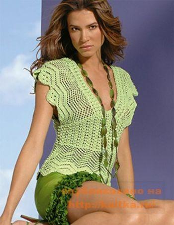 Зеленый топ. Вязание спицами.