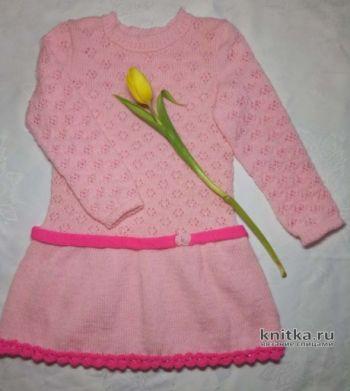 Платье для девочки связано спицами. Работа Ольги