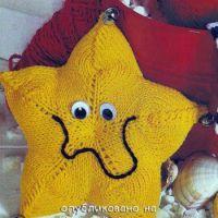 Вязаная спицами игрушка морская звезда