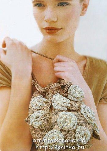 Сумка с розами. Вязание спицами.