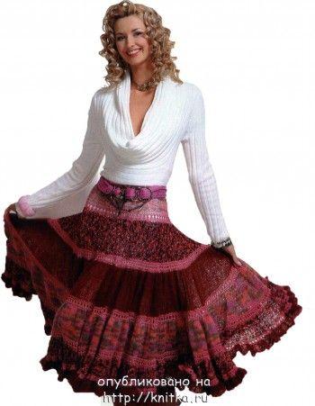 Многоярусная юбка, сязанная спицами. Вязание спицами.