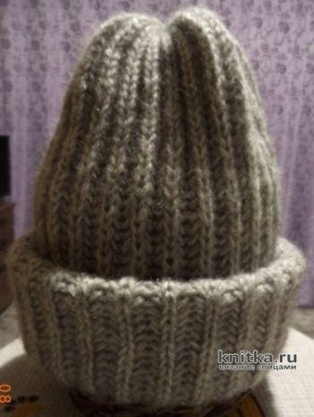 Как связать зимнюю шапку английской резинкой. Работа Анны