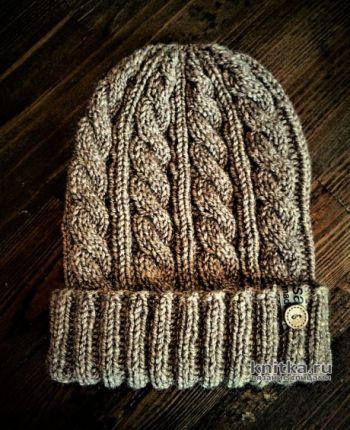 Мужская шапка спицами за 2 часа. Работа essa.handmade