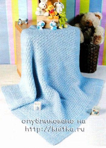 """Детский плед """"голубая сказка"""". Вязание спицами."""