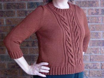 Женский свитер спицами с центральной косой Wishbone by Norah Gaughan