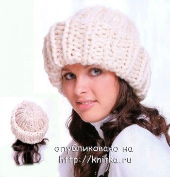 Теплая шапочка, связанная спицами. Вязание спицами.