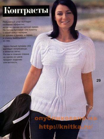 Пуловер с кокеткой, связан спицами