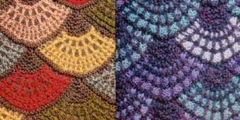 Узор Ракушки - вязание спицами технике пэчворк