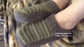 Вязаные тапочки - носки мужские от Ольги Ярославской
