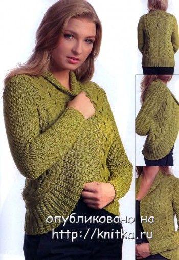 Зеленый жакетик. Вязание спицами.