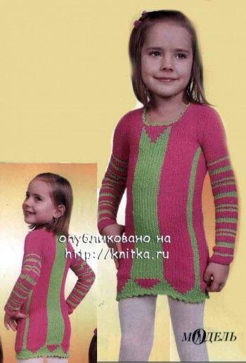 Полосатое платье спицами. Вязание спицами.