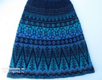 Женская юбка спицами из кауни