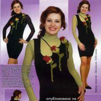 Сарафан, украшенный объемными розами