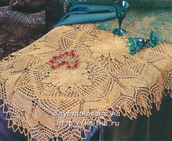 Желтая овальная салфетка. Вязание спицами.